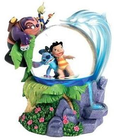 Fantasies Come True - Disney collectibles and memorabilia - Lilo and Stitch surfing musical snowglobe - Jumbaa Jookiba Lilo Pleakley Stitch