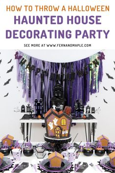 Plan a fun Haunted House Decorating Party for your kids with these ideas for DIY backdrop, spooky decor, and perfect place settings! Get all of the details now at fernandmaple.com!