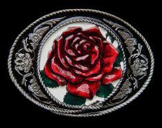BRAND NEW RED ROSE LOVE VINTAGE DESIGN ENAMEL METAL BELT BUCKLE