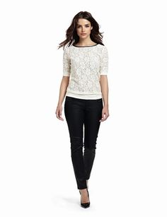 The Limited's Elbow-Sleeve Lace Top paired with 678 Coated Skinny Jeans