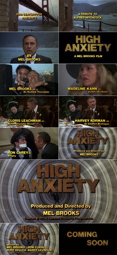High Anxiety (1977) trailer typography – the Movie title stills collection ✇ 'HIGH ANXIETY' (1977) directed by Mel Brooks, starring Mel Brooks, Madeline Kahn, Cloris Leachman, Harvey Korman