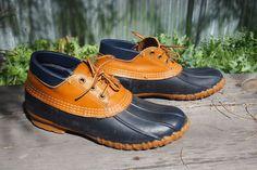 LL bean rubber moc duck boots low womens sz 8 leather blue #llbean #SnowWinterBoots