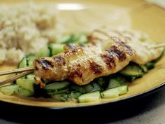 Grilled Chicken Satay with Cucumber Mint Salad