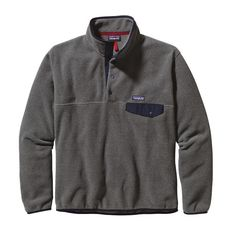 Patagonia Men\'s Lightweight Synchilla\u00AE Snap-T\u00AE Fleece Pullover - Nickel w\/Navy Blue NKNV
