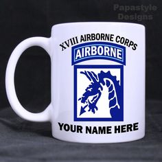 US Army XVIII Airborne Corps Personalized 11oz Coffee Mugs Made in the USA…