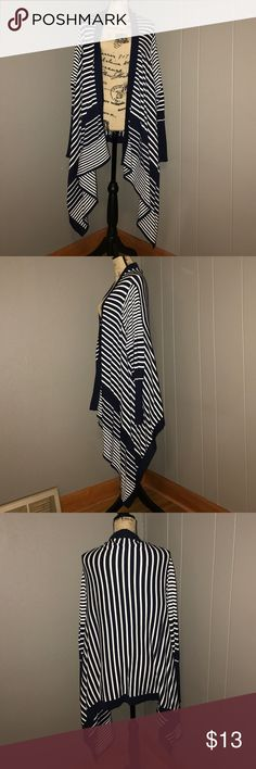 """Blue and white stripped Cardigan Rendition brand size XL. Chest measures 24"""" and length is 32"""". No stains, holes or fabric balling. Made out of 100% cotton. I01/75 Sweaters Cardigans"""