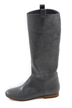 Flat Leather Knee Boots in Grey; would look great with the CAbi Shadow Sweater