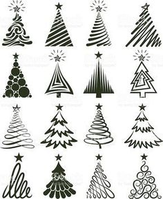 eri tapoja piirtää joulukuusi Various Christmas Tree Collection royalty-free stock vector art