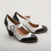 Mandy Retro Mary Jane Shoes by Chelsea Crew BlackWhite $67.00 AT Vintagedancer.com