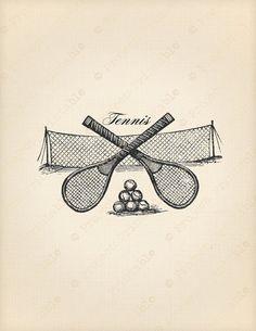 Vintage Victorian sport TENNIS racket ball & par ProjectPrintable