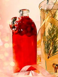 Find fancy decanters in cookware stores, catalogs, or online to package this vinegar and give as gifts. Tie a glittery ribbon around the bottle and attach instructions to use the slightly sweet vinegar dressing on fruit and green salads.