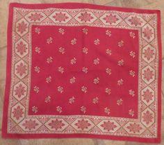 "Vintage red cotton bandana, 28"" square #Bandana"