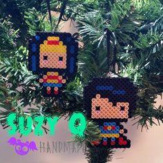 Pixel Chibi Superman and Wonder Woman Christmas Ornaments, DC Comics Fan Art, Perler Bead Decorations Chibi Superman, Super Heros, Perler Beads, Pixel Art, Dc Comics, Lego, Wonder Woman, Fan Art, Decorations