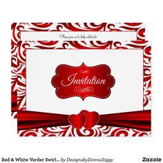 Red & White Verder Swirl Pattern Design Invitation
