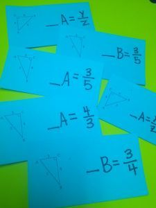 """Each student gets a card.  They figure out which Trig Ratio is illustrated on their card (& why).  pair up   Each person tells which Trig Ratio and why swap cards pair with classmate.  students pair with different people. call """"Freeze!"""" Students go to area designated Sin, Cos or Tan.  students double check card - right location.  swap cards, mix-pair-freeze again."""