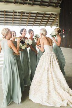 Featured photo: Ashley Caroline Photography via Style Me Pretty; Love the mint green bridesmaid dress idea;