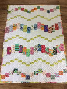 Modern Small Quilt Colorful Crib Quilt Modern Baby Quilt Shower Gift White