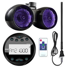 Pyle PLMR91UB Waterproof Bluetooth Marine Guage Style MP3 Media Receiver Bundle Combo With 65 Inch 400 Watt Dual Wakeboard Multi Color LED Light Boat Tower Speakers  Enrock 22 AMFM Radio Antenna ** Read more reviews of the product by visiting the link on the image.