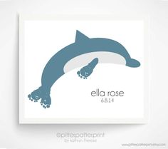 Ocean Nursery Baby Footprint Dolphin Baby Sea by PitterPatterPrint