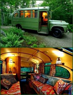 Short bus ,Tiny home -- This is how I want the boat's cabin to feel.