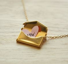 Gold Envelope Necklace, anirtak on etsy