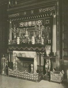 640 Fifth Ave | The fireplace, mantle and chimney piece in the Library of William H. Vanderbilt's residence.