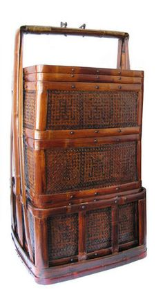 Chinese stacking carrying basket, made of bamboo with iron handle--Republic Period