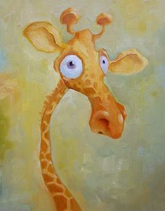 Artist Mike Wohnoutka -- love it! Such humour Giraffe Art, Cute Giraffe, Cartoon Giraffe, Giraffe Painting, Elephant, Animal Sketches, Animal Drawings, Portrait Illustration, Children's Book Illustration