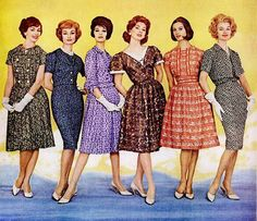 Stylish day dresses from the early 60s Fashion Trends, 1960s Fashion Women, 60 Fashion, Retro Fashion, Trendy Fashion, Fashion Dresses, Vintage Fashion, Womens Fashion, Fashion Design