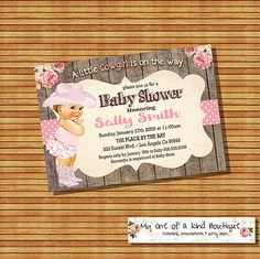 Cowgirl baby shower invitation vintage pink by myooakboutique