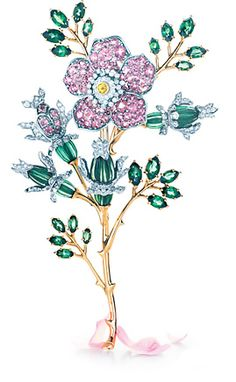 Tiffany flower pin brooch with emeralds, diamonds, pink sapphires or kunzites, and gold