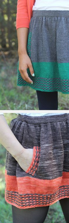 Knitting pattern for New Girl Skirt inspired by the style of Zooey Deschanel's character Jess on New Girl. Circle skirt features an elastic band, pockets, stripes and daisy stitch. Finished Size 29 (31, 35, 39, 43, 47, 50) waist measurement. More pics on Etsy (affiliate link) tba tv