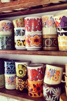 Bright and colorful coffee cups.