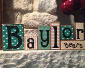 Baylor Bears decorative blocks BoardsbyKelly on Etsy https://www.etsy.com/shop/BoardsbyKelly
