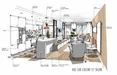 Croquis architecture intérieure-Dominique JEAN pour EDECO Rénovation - verrière-salon ouvert sur cuisine-carreaux de ciment