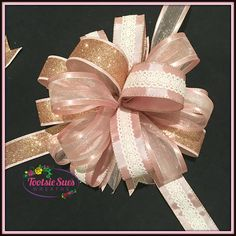 Rose Gold Pink Lace Valentine Bow Craft Bow Wreath Bow