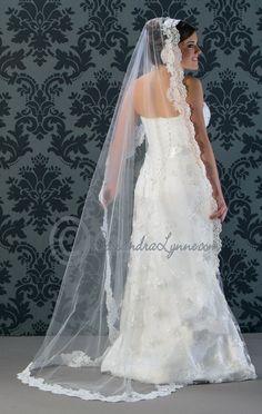 Mantilla with floral lace trim custom made to any length! #weddingveil #lace