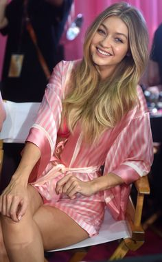 Gigi Hadid from Backstage at the 2015 Victoria's Secret Fashion Show  Gigi gives a big smile as she awaits her big moment on the runway.