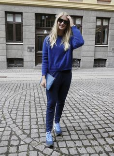 Frederikke wearing Rützou AW13 sweatpants and mohair knit.
