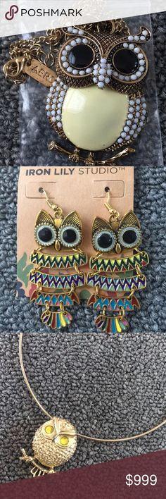 🦉 OWL STUFF 🦉 Listing 5/6 Owl ornaments, jewelry, statues, etc.  Owl Decor, necklaces (one's from Aeropostale), rings, tin containers, bowls, purse wallet pouches, ornaments, earrings, stuffed animal, statues, porcelain decorations, vintage necklaces, brooches, hanging wall decor, photo holder, hot pan holder, hand towels, lunchbox, watch necklace, necklace box.   Everything owl!   If you see something you like comment below and I'll make you a separate listing!  🦉🦉🦉 Other