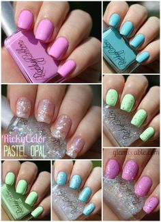 Ricky's NYC RickyColor Nail Polish Pastel Opal Collection Swatches, Review, Pictures | via @glamorable #bbloggers #nails #nailpolish #manicure #rickysnyc #pastel #beauty #glitter #creme