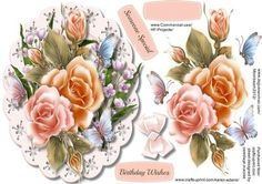 Beautiful Rosy glo roses with Butterfly s  on Craftsuprint - Add To Basket!