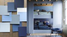 Flexa Interieur Kleur van het Jaar 2017: Denim Drift - Verf Kleurenpalet Blauw voor Muren, Meubels en Woonaccessoires. (Foto Flexa op DroomHome.nl)
