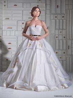 chrystelle atallah bridal spring 2014 ball gown wedding dress illusion sleeves overskirt