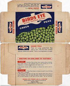 birds eye frozen vegetable box packaging   1960s Birds Eye Frozen Peas Box - New Zealand