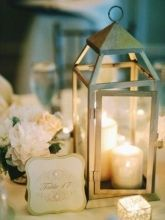 Lanterns/originally black, bride had them antiqued. Lovely, refer to this for table decor. Lanterns bought from Pottery Barn Outlet.