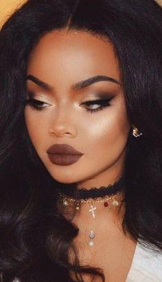 Brown Lips + Contouring + Highlight + Feline Liner + Gold Inner V + Brown Outer V