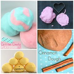 Here are a bunch of scented playdough recipes for kids to make! Find apple, cinnamon, cotton candy, lemon, and more!