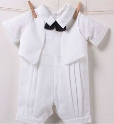 Pants for Boys Baptism Outfits | Boys White Faux Tuxedo Romper Outfit 9/12/18/24mos Christening Wedding ...
