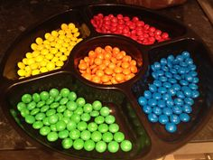 Rainbow of m and ms- it looks like the 70s electronic game Simon.